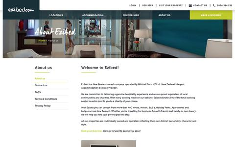 Screenshot of About Page ezibed.com - Book NZ accommodation online | Travel NZ - Ezibed NZ - captured Dec. 8, 2018