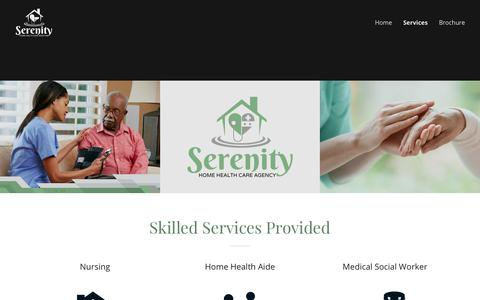 Screenshot of Services Page serenityhomehealthcare.com - Serenity Home Health Care Agency | Services | Serenity Home Health Care - captured Oct. 19, 2018