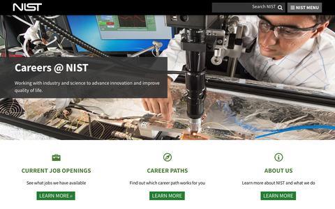 Screenshot of Jobs Page nist.gov - Careers @ NIST | NIST - captured Sept. 21, 2018