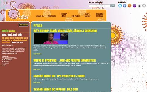Screenshot of Press Page lilsoso.com - Press Archives - LiL SoSo Productions - captured Oct. 2, 2014