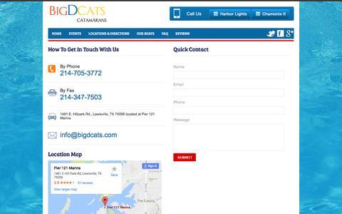 Screenshot of Contact Page bigdcats.com - Contact Us | Big D Cats | Lake Lewisville Party Boat - captured Nov. 4, 2016