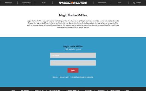 Screenshot of Login Page magicmarine.com - Mfiles || Magic Marine - captured Dec. 9, 2015