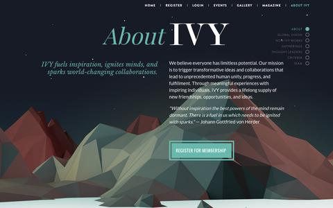 Screenshot of About Page ivy.com - IVY: The Social University - captured Jan. 20, 2016
