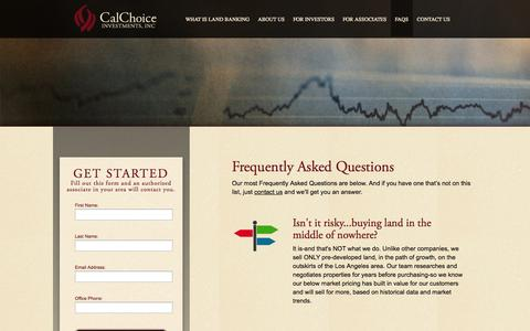 Screenshot of FAQ Page calchoiceinvestments.com - FAQs | CalChoice Investments | Chino Hills, California - captured Oct. 1, 2014