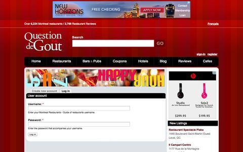 Screenshot of Login Page qdg.ca - User account | Montreal Restaurants - Guide of restaurants - captured Oct. 30, 2014