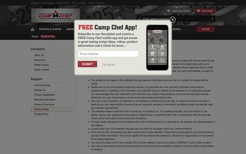 Screenshot of Terms Page campchef.com - Terms of Use | Camp Chef - captured Dec. 7, 2015