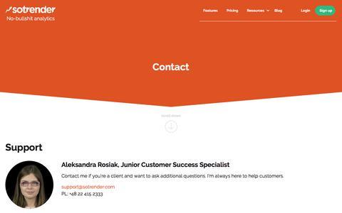 Screenshot of Contact Page sotrender.com - Sotrender. No-bullshit analytics. Analyze and optimize your marketing over social media. - captured Sept. 21, 2018