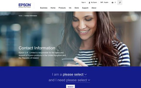 Screenshot of Contact Page epson.co.uk - Contact Information - Epson - captured Sept. 22, 2018