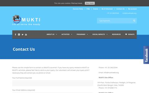 Screenshot of Contact Page muktiweb.org - Contact Us | Mukti - captured Oct. 18, 2018