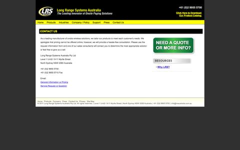 Screenshot of Contact Page lrsaustralia.com.au - Long Range Systems Contact Information - captured Oct. 3, 2014