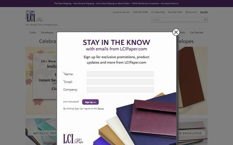 Screenshot of Home Page lcipaper.com - Wedding Specialty Paper | Envelopes & Card Stock Delivered Fast - captured Oct. 20, 2015