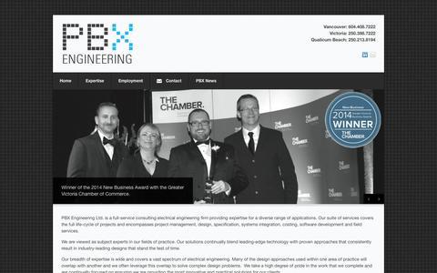 Screenshot of Home Page pbxeng.com - PBX Engineering Ltd. - captured Oct. 1, 2014
