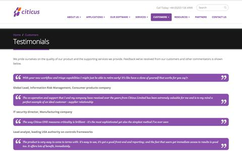 Screenshot of Testimonials Page citicus.com - Testimonials | Citicus - captured July 31, 2017