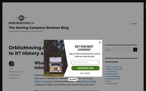 Screenshot of Blog movingcompanyreviews.com - The Moving Company Reviews Blog - moving guides, moving tips, and moving news - captured Oct. 3, 2018
