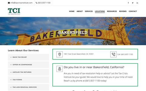 Screenshot of Contact Page Locations Page taxcrisisinstitute.com - Need tax help in Bakersfield? We can help! - captured Nov. 7, 2018