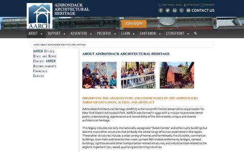 Screenshot of About Page aarch.org - About Adirondack Architectural Heritage - - Adirondack Architectural Heritage - captured Oct. 7, 2017