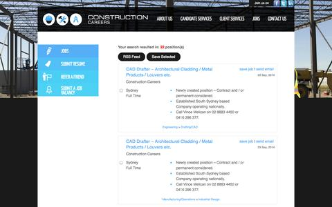 Screenshot of Jobs Page constructioncareers.com.au - Advanced Search  | Construction Careers - captured Sept. 30, 2014