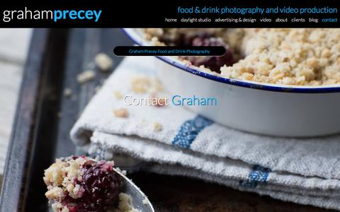 Screenshot of Contact Page precey.com - Contact Precey, Professional Food Photographer in London - captured Feb. 1, 2016