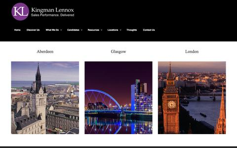 Screenshot of Locations Page kingmanlennox.com - Sales Performance | Recruiter | Consulting | Kingman Lennox - captured Oct. 17, 2017