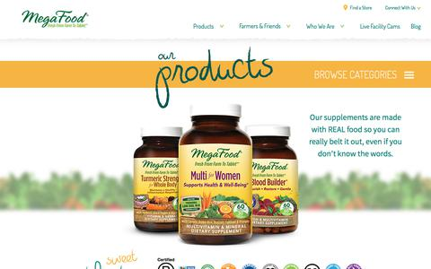 Screenshot of Products Page megafood.com - Real Food Supplements | Our Products | MegaFood - captured March 27, 2018