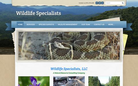 Screenshot of Home Page wildlife-specialists.com - Wildlife Specialists - the wildlife experts - captured Sept. 20, 2018