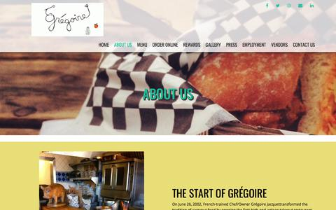 Screenshot of About Page gregoirerestaurant.com - About Us | - captured July 25, 2018