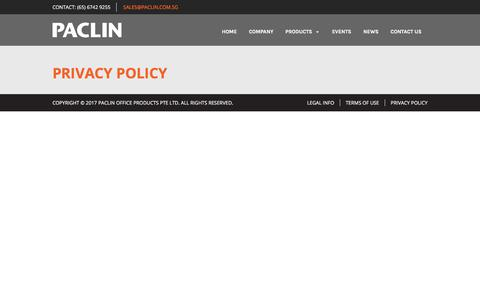 Screenshot of Privacy Page paclin.com.sg - Privacy Policy – Paclin - captured July 12, 2017