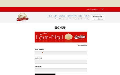 Screenshot of Signup Page farmhousegourmet.com.au - Signup | Farmhouse Gourmet - captured Sept. 30, 2014