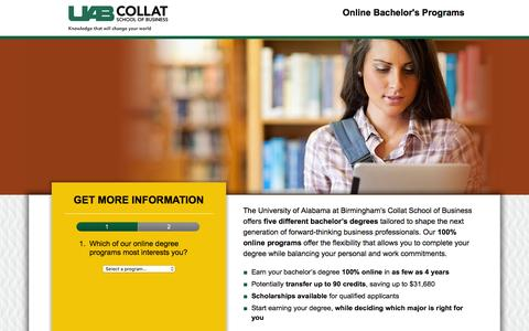 Screenshot of Landing Page uab.edu - bachelors-email-Jan | UAB Business Degrees Online - captured Dec. 21, 2015