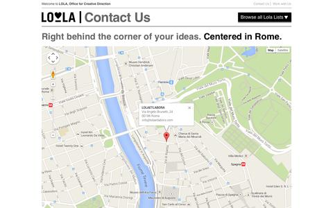Screenshot of Contact Page lolaetlabora.com - Contact Us | LOLA Experience + Design - captured Sept. 30, 2014