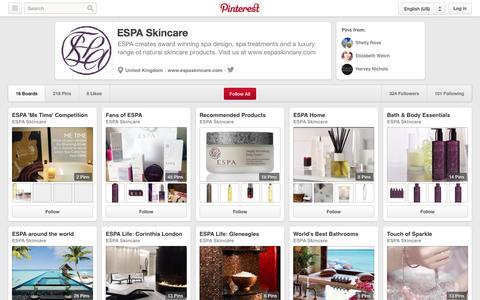 Screenshot of Pinterest Page pinterest.com - ESPA Skincare on Pinterest - captured Oct. 22, 2014