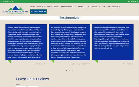 Screenshot of Testimonials Page valleylandscapingva.com - Testimonials: Roanoke, Christiansburg, VA - captured Oct. 20, 2018