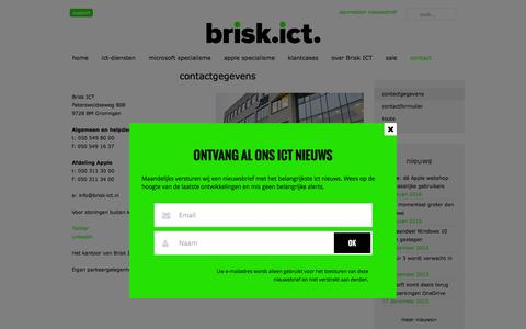 Screenshot of Contact Page brisk-ict.nl - Contactinformatie Brisk ICT | Brisk ICT Groningen - captured Feb. 6, 2016