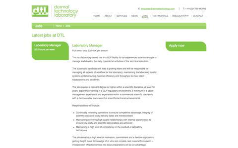 Screenshot of Jobs Page dermaltechnology.com - Jobs - Dermal Technology Laboratory - captured Oct. 5, 2014