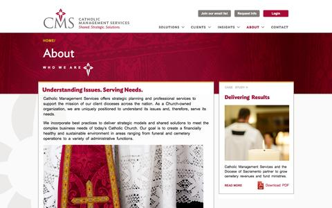 Screenshot of About Page cmsmission.org - who we are   Catholic Management Services - captured Oct. 2, 2014