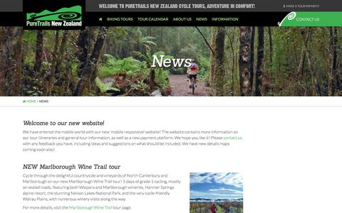 Screenshot of Press Page puretrailsnewzealand.co.nz - News of PureTrails New Zealands South Island cycle tours - captured April 11, 2017