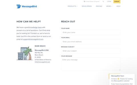 Contact: how can we help? - MessageBird