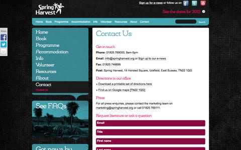 Screenshot of Contact Page springharvest.org - Contact Us | Spring Harvest - captured Sept. 30, 2014