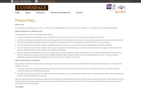 Screenshot of Privacy Page clydesdale.net - Privacy Policy - captured Nov. 7, 2016