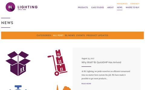 Screenshot of Press Page bllighting.com - Latest Light Solutions News   BL Lighting: Illuminate Everything - captured Oct. 9, 2017