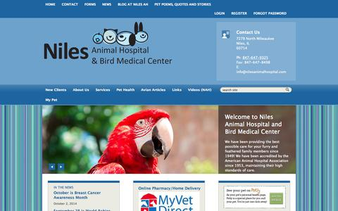 Screenshot of Home Page Login Page nilesanimalhospital.com - Niles Animal Hospital & Bird Medical Center - captured Oct. 6, 2014