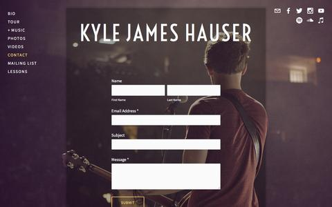 Screenshot of Contact Page kylejameshauser.com - Contact — Kyle James Hauser - captured May 11, 2016