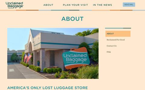 Screenshot of About Page unclaimedbaggage.com - Lost Luggage Store | Unclaimed Baggage Alabama | About - captured Sept. 25, 2014