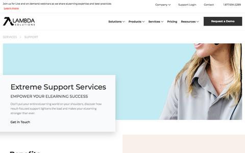 Screenshot of Support Page lambdasolutions.net - LMS Support Services | Lambda Solutions - captured July 25, 2019