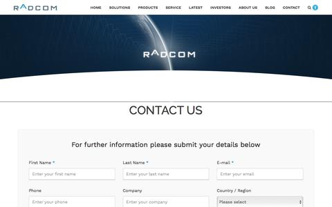 Screenshot of Contact Page radcom.com - Contact | RADCOM - captured June 11, 2017