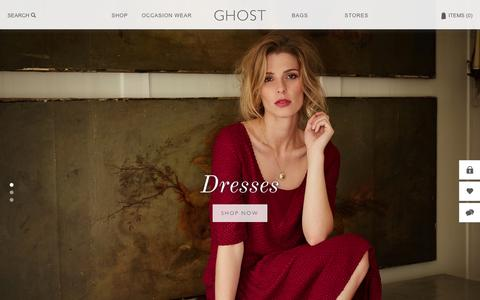 Screenshot of Home Page ghost.co.uk - Ghost London | Buy Designer Clothes | Women's Fashion Clothing and Bridalwear Online - captured Sept. 23, 2014