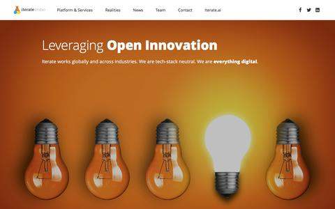 Screenshot of Home Page iteratestudio.com - Iterate Studio | Iterate Studio and Iterate.ai - AI based Innovation Platform and related services - captured July 3, 2016