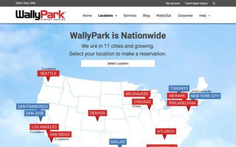 Screenshot of Locations Page wallypark.com - WallyPark Airport Parking Locations - captured March 12, 2017