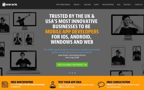 Screenshot of Home Page waracle.net - Waracle | Mobile App Developers serving UK and USA - captured Nov. 11, 2015