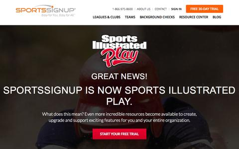 Screenshot of Trial Page sportssignup.com - Start Your Free 30-Day Trial - captured Nov. 17, 2015